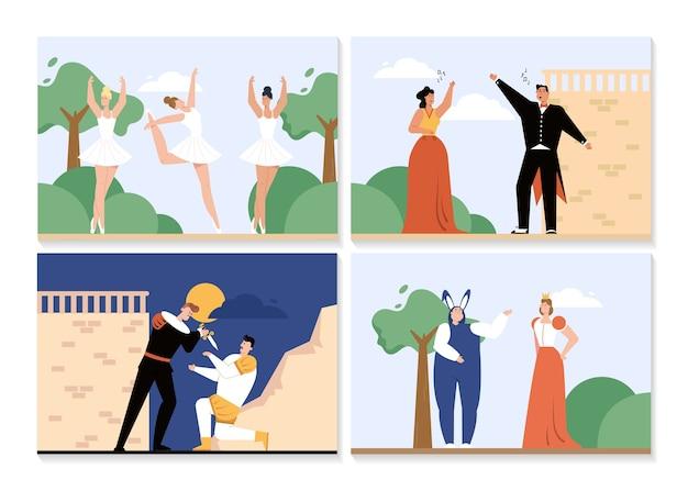 Ópera e balé apresentam cenas isoladas Vetor Premium