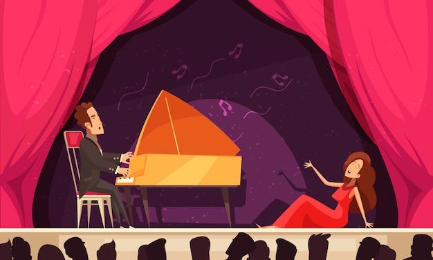Ópera teatro composição horizontal dos desenhos animados com ária de cantor e pianista no palco desempenho audiência cabeças silhuetas Vetor grátis