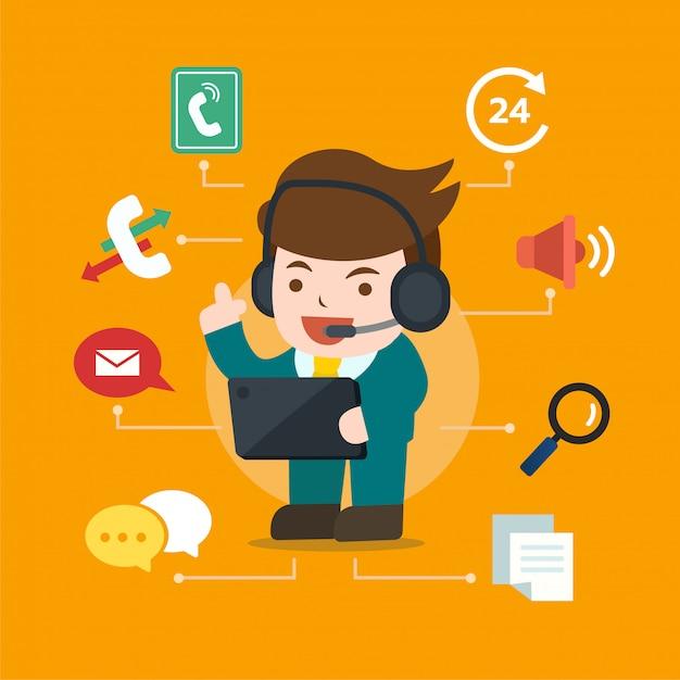 Operador de personagem de call center com fone de ouvido, suporte de linha direta, feedback Vetor Premium
