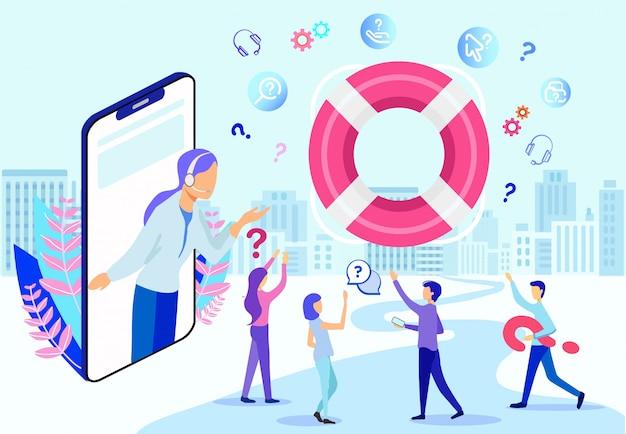 Operador feminino hotline dos desenhos animados na tela do telefone Vetor Premium