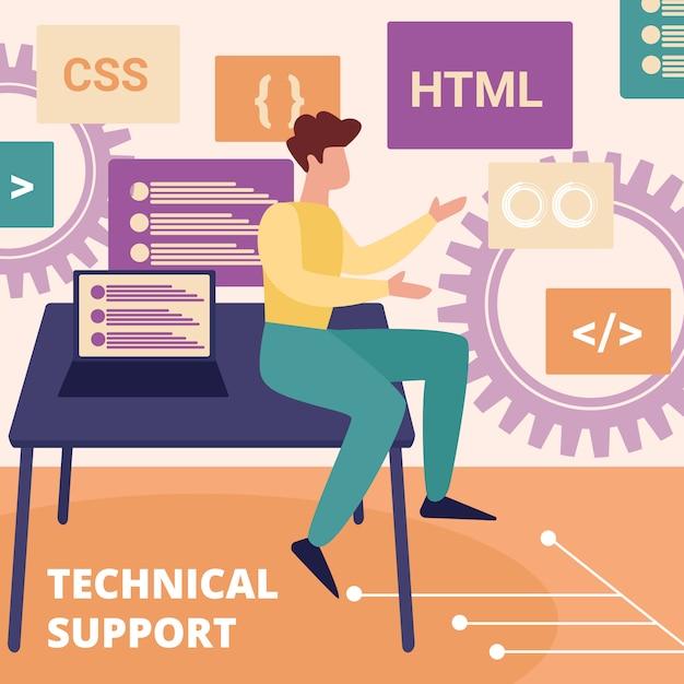 Operador profissional do serviço de suporte técnico Vetor Premium