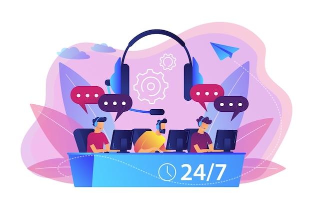 Operadores de atendimento com fones de ouvido em computadores, atendendo clientes 24 horas por dia, 7 dias por semana. call center, sistema de atendimento de chamadas, conceito de call center virtual. Vetor grátis
