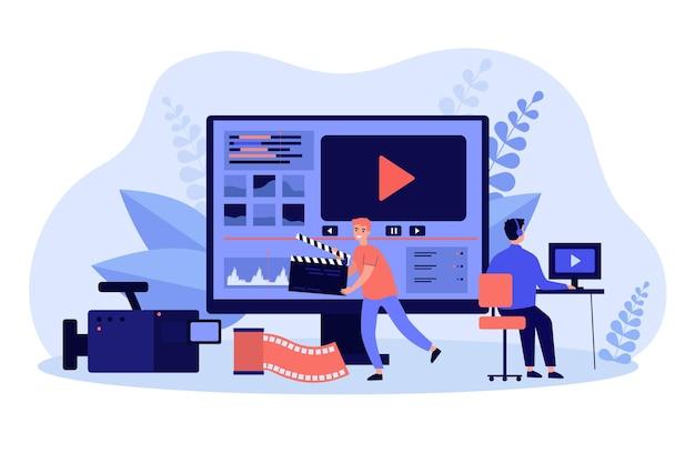Operadores de vídeo minúsculos trabalhando com conteúdo de mídia visual Vetor Premium