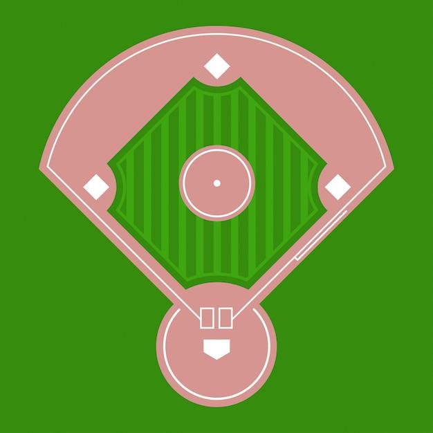 Opinião superior de campo de diamante do basebol. Vetor Premium