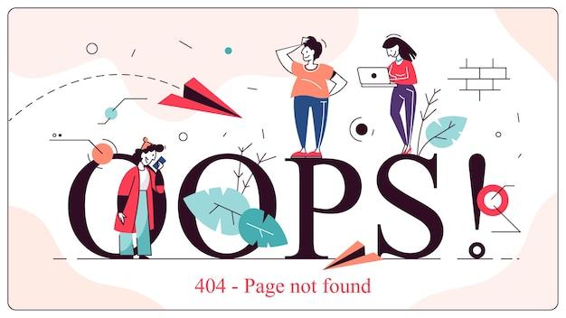 Ops, página de erro 404 não encontrada ilustração do conceito Vetor Premium
