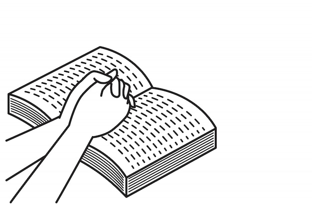 Orando com o livro da bíblia aberto Vetor Premium