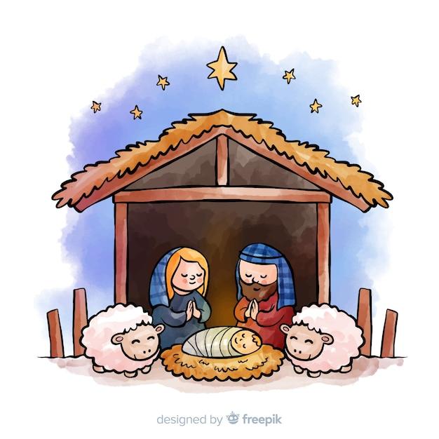 Orando, família, natividade, fundo Vetor grátis