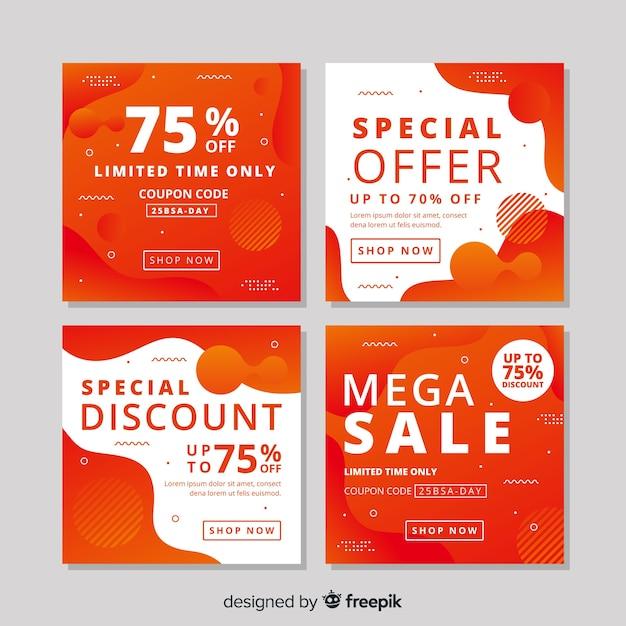 Orang conjunto de banners de venda moderna para mídias sociais Vetor grátis