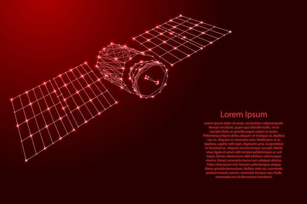 Orbital de satélite artificial de terra com painéis solares de linhas vermelhas poligonais futuristas e estrelas brilhantes para banner, cartaz, cartão de felicitações. Vetor Premium