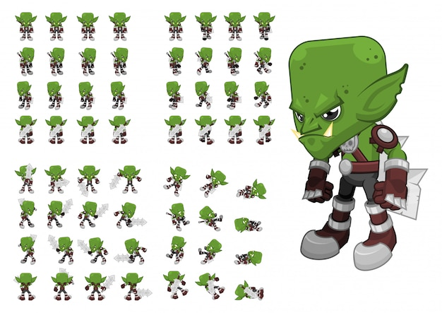 Orc warrior game character Vetor Premium