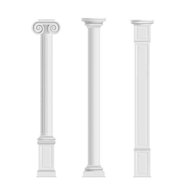 Ordens cilíndricas antigas dóricas, iônicas e modernas colunas cúbicas de pedra de mármore Vetor grátis