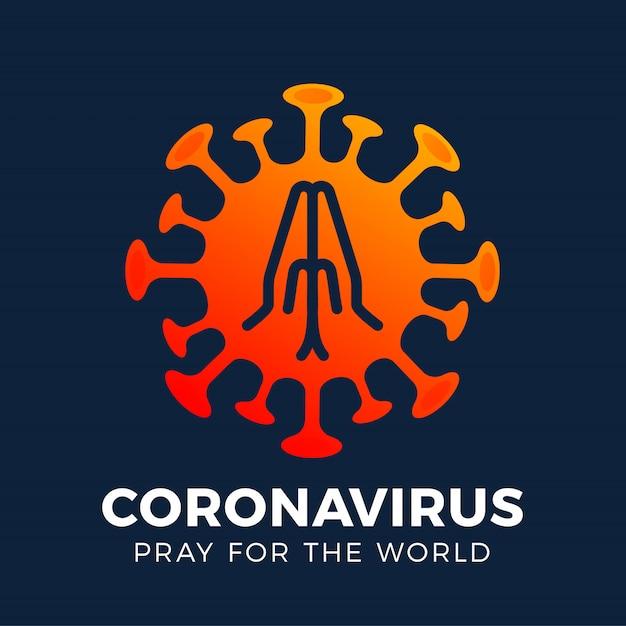 Ore pelo conceito mundial de coronavírus com as mãos hora de rezar o corona virus 2020 covid-19. coronavírus no vírus wuhan covid 19-ncp Vetor Premium