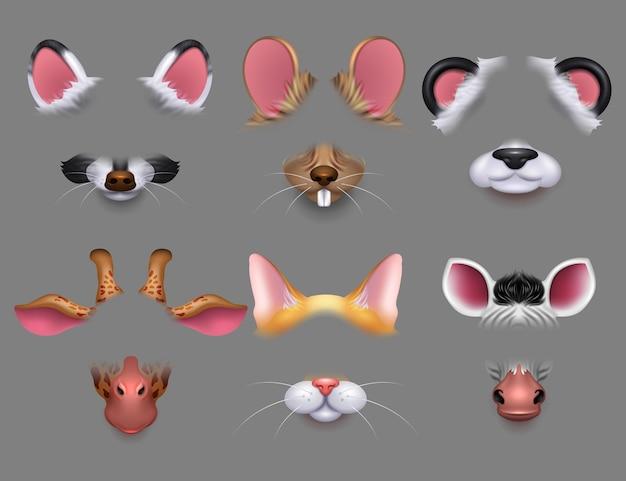 Orelhas de animais fofos e filtros de efeito de vídeo nariz. animais engraçados enfrenta máscaras para conjunto de telefone celular Vetor Premium