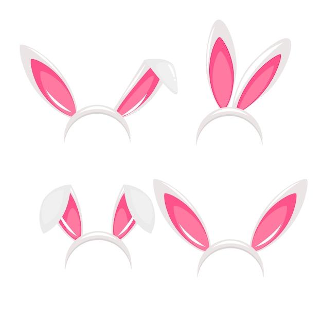Orelhas de coelho e máscara de carnaval de nariz para uma foto Vetor grátis