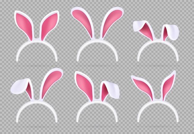 Orelhas de coelho realistas isoladas. máscaras engraçadas do coelhinho da páscoa Vetor Premium