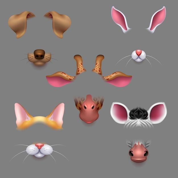 Orelhas e narizes de animais. selfie foto filtra animais enfrenta máscaras. avatar de máscara animal efeito engraçado para foto selfie Vetor Premium