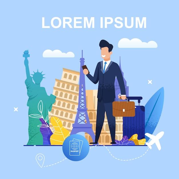 Organização de viagens de negócios de ilustração de banner Vetor Premium