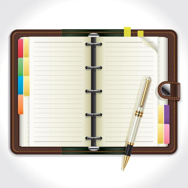 Organizador pessoal com caneta. Vetor Premium