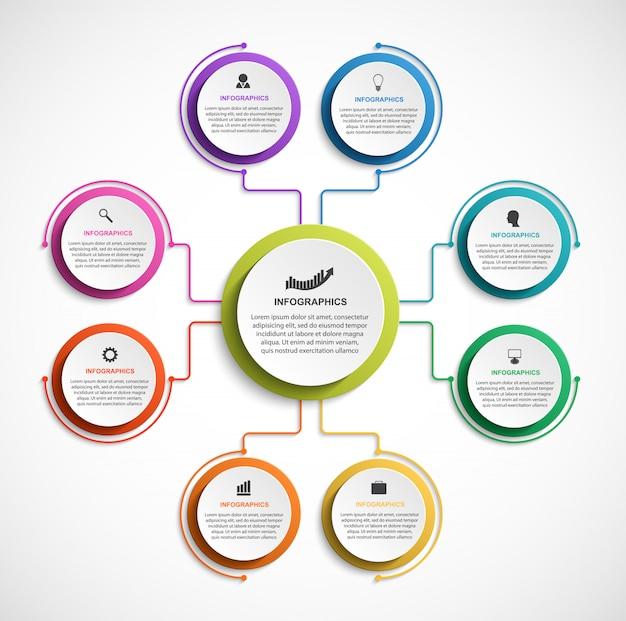 Organograma de projeto infográfico. Vetor Premium