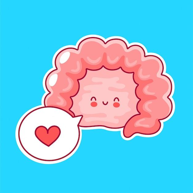 Órgão de intestino humano engraçado feliz fofo com balão Vetor Premium