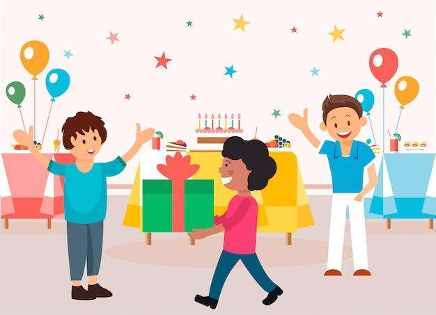 Orginização e menu para festas infantis. Vetor Premium