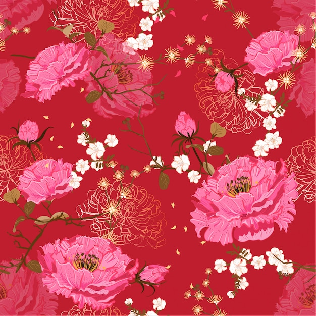 Oriental suave bloom padrão floral sem emenda de vetor Vetor Premium