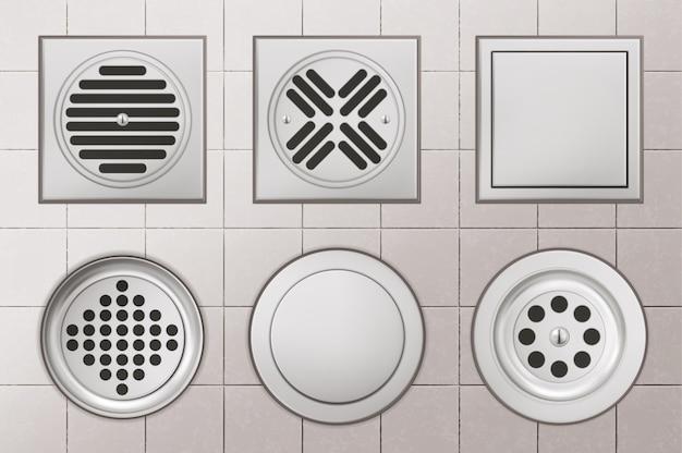 Orifícios de drenagem do chuveiro com tampas de aço inoxidável sobre fundo de piso de cerâmica branca, esgotos de drenagem de formato redondo e quadrado para vaso sanitário, banheiro ou vista superior da bacia, ilustração vetorial 3d realista Vetor grátis