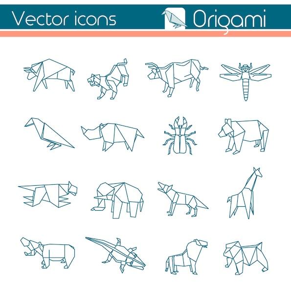 Origami animal Vetor Premium