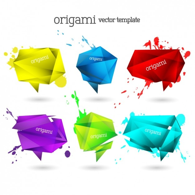 Origami bolhas coloridas do discurso coleção Vetor grátis