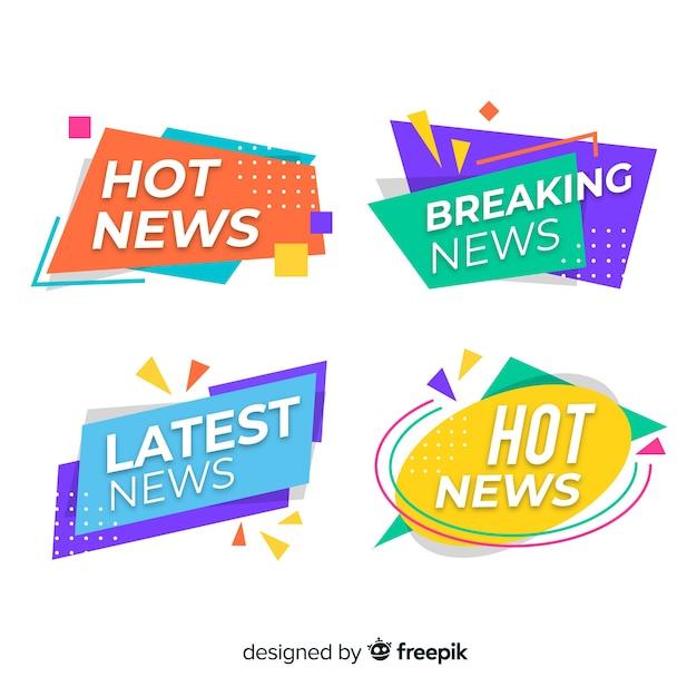 Origami colorido mais recente pacote de banner de notícias Vetor grátis