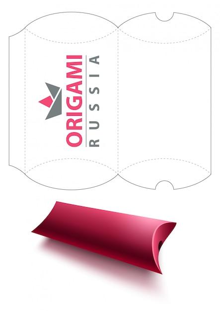 Origami de caixa de papel Vetor Premium