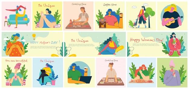 Origens de atividades de mulheres. mulheres fazendo yoga, cozinhar, ler e trabalhar o conceito no estilo liso Vetor Premium