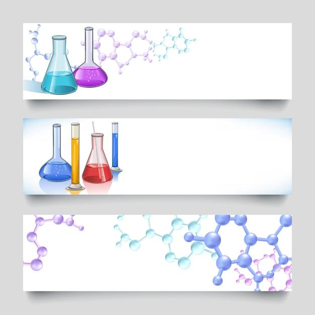 Origens de banners de laboratório químico Vetor grátis