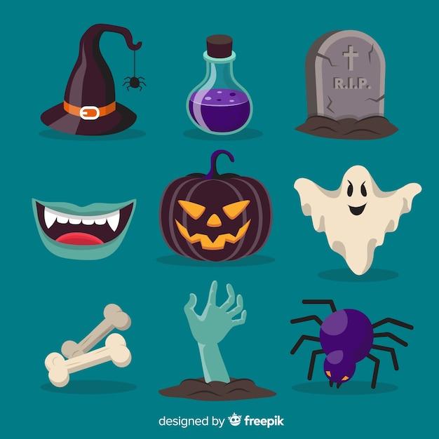 Original coleção de elementos de halloween com design plano Vetor grátis