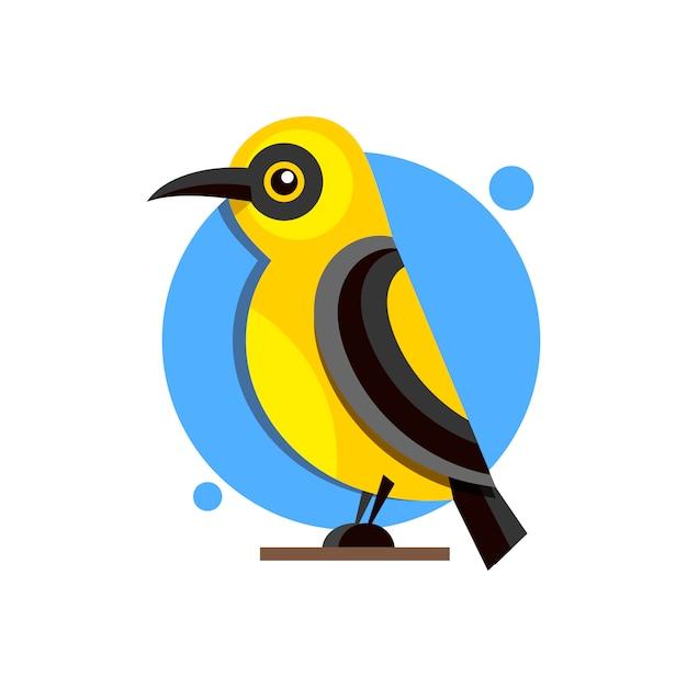 Oriole do pássaro no logotipo liso do estilo do ramo para o projeto. Vetor Premium
