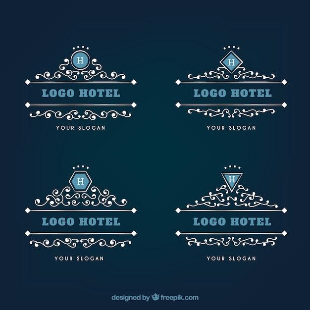 Ornamentais logos de hotéis Vetor grátis