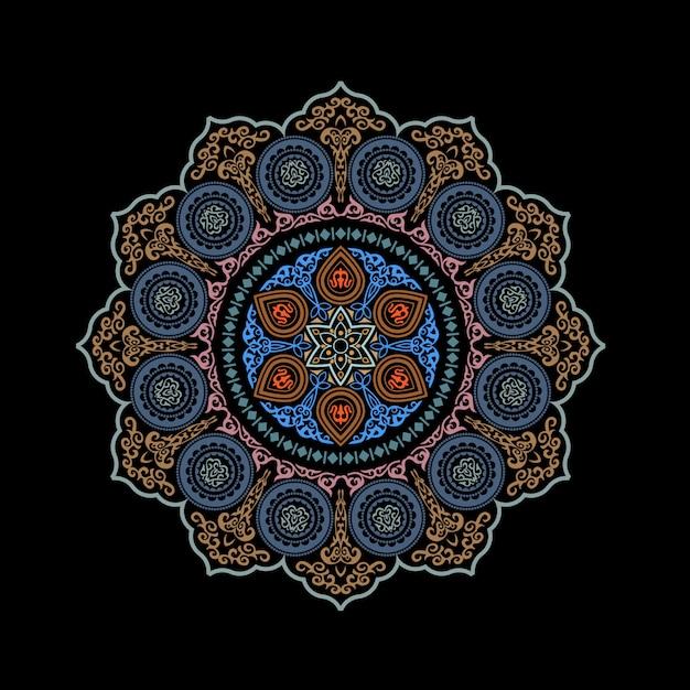 Ornamental redondo étnico abstrato Vetor Premium