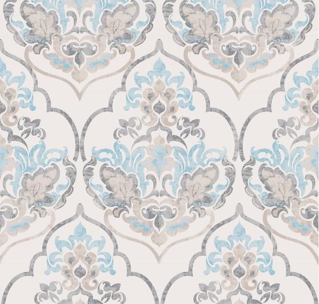 Ornamento barroco aquarela textura na moda de luxo Vetor Premium