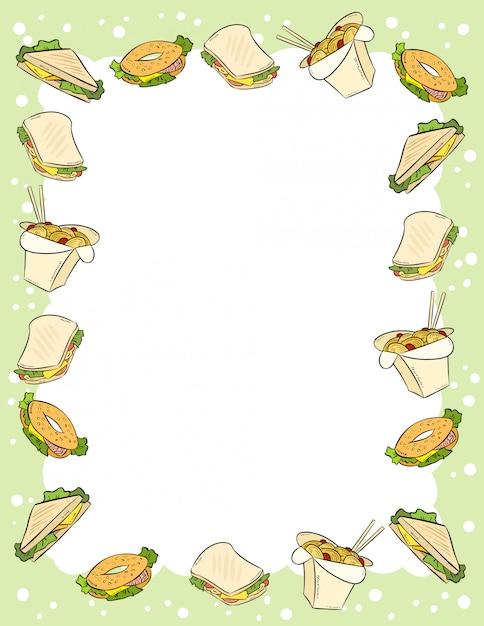 Ornamento de fast-food e sanduíches em estilo cômico doodles modelo de carta de vista superior. Vetor Premium