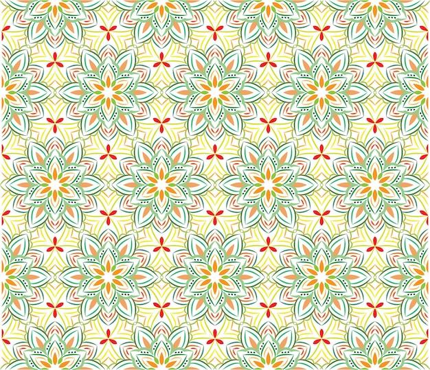Ornamento de fundo abstrato, padrão sem emenda com flores Vetor Premium