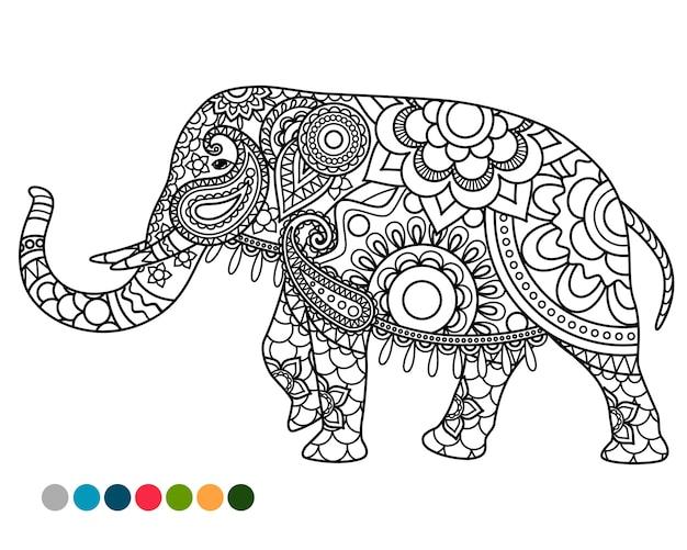 Ornamento de mandala de elefante com amostras de cores Vetor Premium