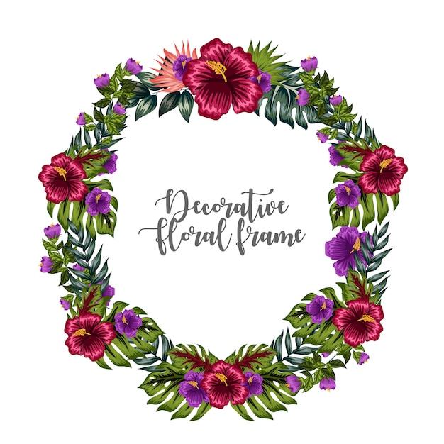 Ornamento de quadro floral colorido decorativo Vetor Premium