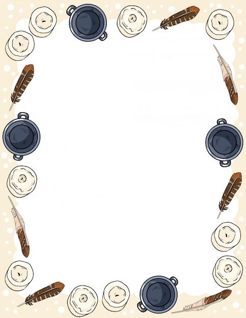 Ornamento de velas, penas e caldeirões em estilo cômico doodles modelo de cartão postal vista superior. banner de formato de carta com lugar para o seu texto. boho acolhedor estacionário Vetor Premium