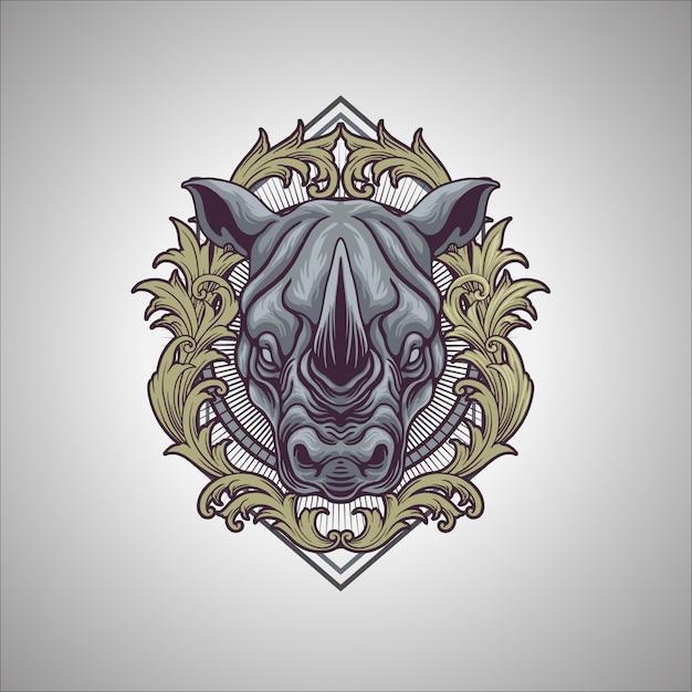 Ornamento do rinoceronte Vetor Premium