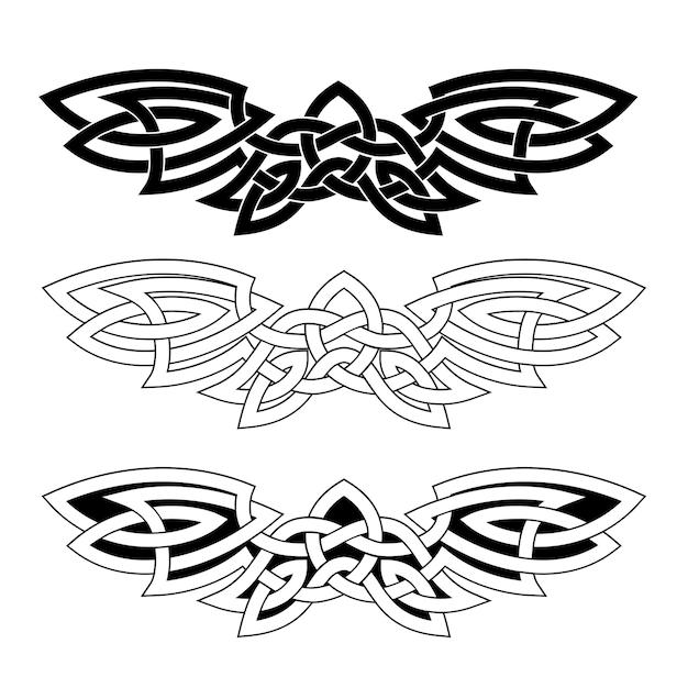 Ornamento em forma de asas estendidas no estilo nacional celta, isolado em um fundo branco. Vetor Premium