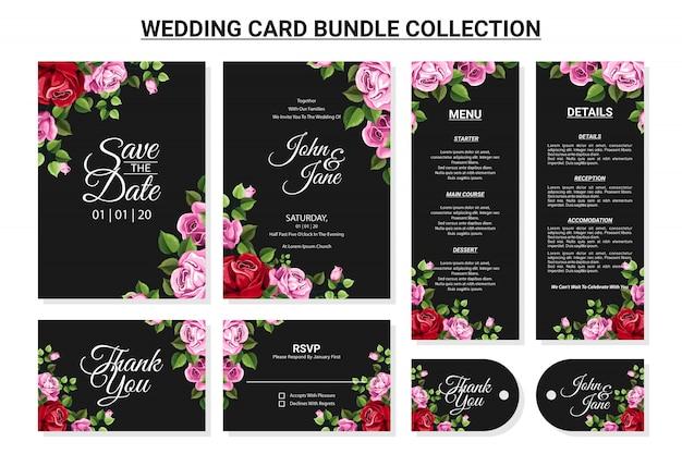 Ornamento floral para conjunto de coleta de pacote de cartão de casamento Vetor Premium