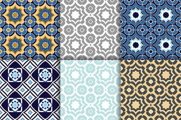 Ornamento geométrico árabe de padrões sem emenda Vetor Premium