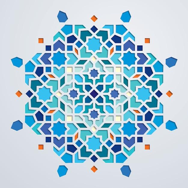 Ornamento geométrico colorido de marrocos Vetor Premium