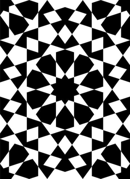 Ornamento geométrico sem costura baseado na arte islâmica tradicional. figuras pretas Vetor Premium