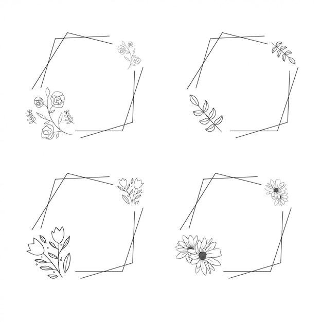 Ornamento luxo floral flor moldura conjunto arte de linha Vetor Premium
